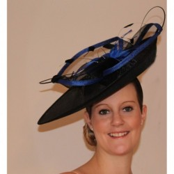 Royal Blue and Black Feather flower Fischer Large Hascinator Fascinator Headband