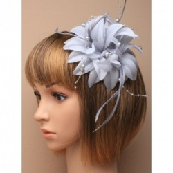 Fascinator Clip & Pin - Layered Silver grey fabric flower with feathers and silver pearl beads on a fork clip and brooch pin