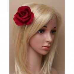 Hair Clip Flower - Fabric burgundy rose on a forked hair clip.