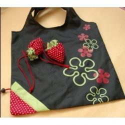 Black Eco Storage Handbag Red Strawberry Foldable...