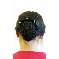 Black Velvet Ribbon Crochet Bun Net Holder Snood Diamante Clear Stone Details