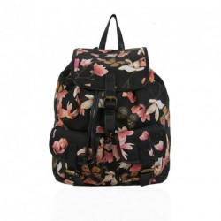 Gessy Black floral Rucksack Butterfly Coral pink flower school Backpack