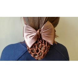Brown Satin Bow Ribbon Crochet Bun Net Holder Snood on French Hair Clip Barrette