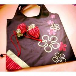 Brown Flower Eco Storage Handbag Strawberry Foldable...