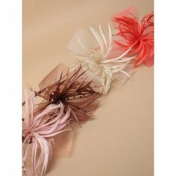 Aliceband Fascinator - Looped net and feather fascinator on a matching coloured satin aliceband in Nude, coral, mocha or cream
