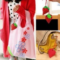 Light Pink Eco Storage Handbag Strawberry Foldable Shopping Bags Reusable Bag