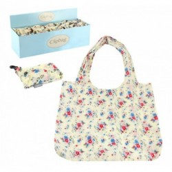 Clip on Bag - Re-usable Daisy Print Folding Pocket Bag with clip on key ring