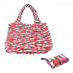 Clip on Bag - Re-usable Lipstick Print Folding Pocket Bag with clip on key ring