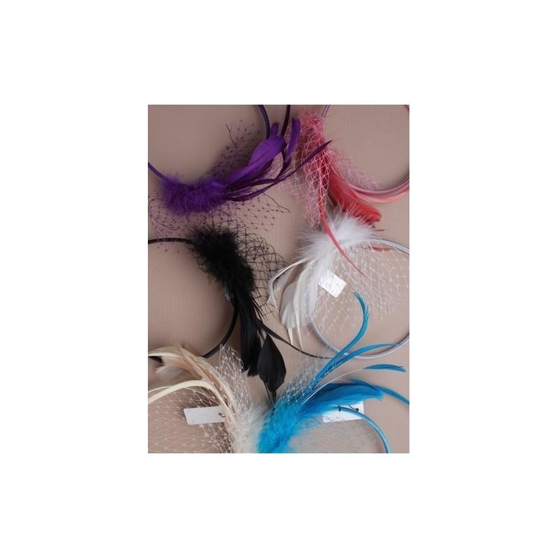 fascinator aliceband - fluffy fjer og net fascinator hårbånd alice band