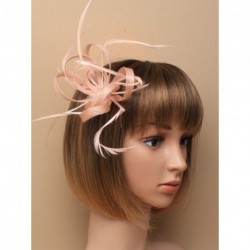 Fascintor Clip & Pin - Nude looped Hessian net and feather fascinator on a beak clip with brooch pin.