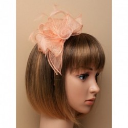 Fascinator Aliceband - Peach Puff Looped sinamay and feather fascinator on a matching coloured satin fabric aliceband