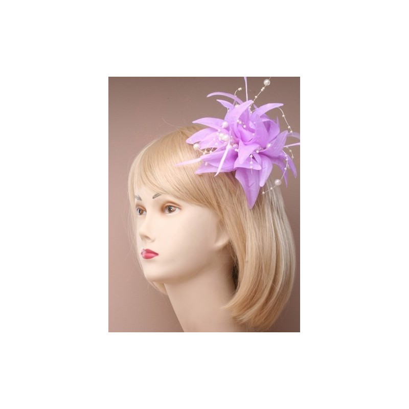 Fascinator clip & pin - Lilly-esque feather & pearl hair slide fascinator