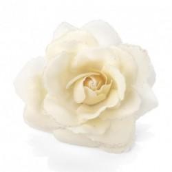 Cream colour rose flower glitter hair elastic and clip. -...
