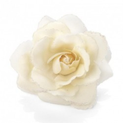 Cream colour rose flower glitter hair elastic and clip. - (HA27431)