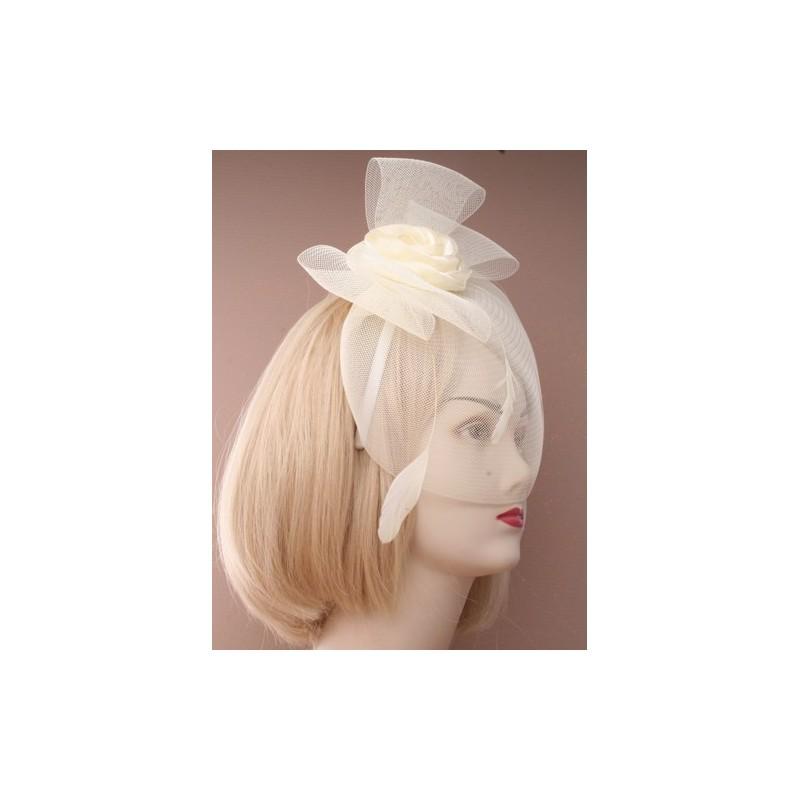 fascinator aliceband - elfenben netto cap steg, fjer eller løkke, satin hårbånd alice bandet fascinator