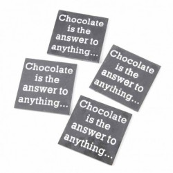Chocolate Is The Answer Set Of 4 Coaster Size: 10x10cm