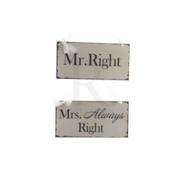 Metal Danglers 10x20cm - Mr & Mrs signs choice of...