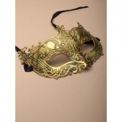 Masquerade Mask - Matt gold plastic brushed metal effect filigree unisex masquerade mask with black ribbon ties.