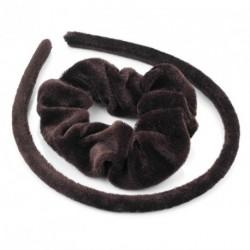 Headband Scunchie Set - Two piece brown velvet look...