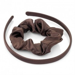 Headband Scunchie Set - Two piece brown satin look headband and scrunchie hair accessories set. - (HA26652)