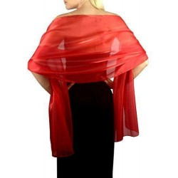 Scarf & Rose Hair Clip - Red Organza ball wrap Shawl Stole Evening Scarf Diner Dance Party