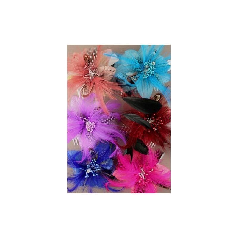 Fascinator Comb - Bright coloured feather flower fascinator comb