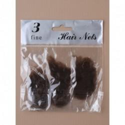 Hair Nets - Pack of 3 Brown Fine Mesh Hair Nets.