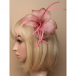 Fascinator Clip - Pink fabric mesh flower and feather fascinator with a brooch pin