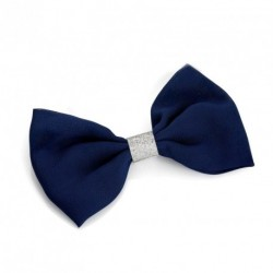 Bow Hair Clip - Navy Blue with Silver Glitter Hair Bow Stylish Hair Clip Hair Slide Free UK PP