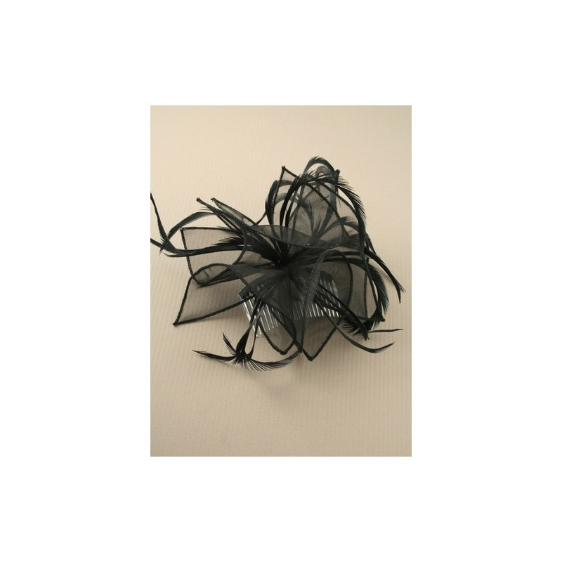 Large black looped fabric and Feather Fascinator on a clear comb.