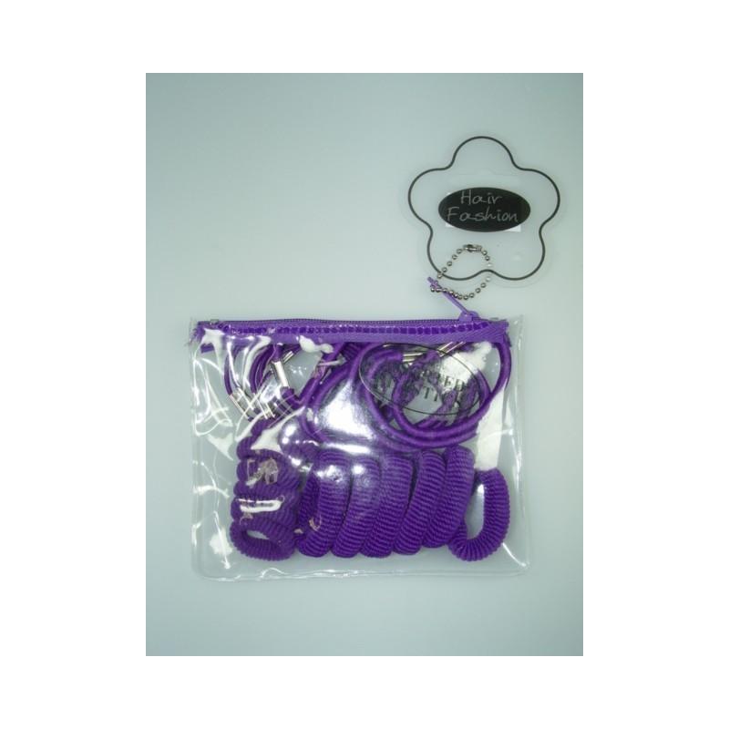 elásticos del pelo en un bolso - bolso con 24 gomas de pelo morado