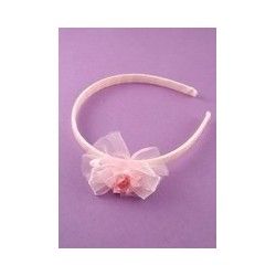Aliceband - Childs Pink Ribbon and Rosebud motif Alice band