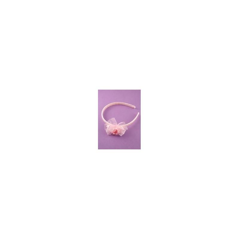 Barnets Pink Ribbon aliceband med bånd og Rosebud motiv.