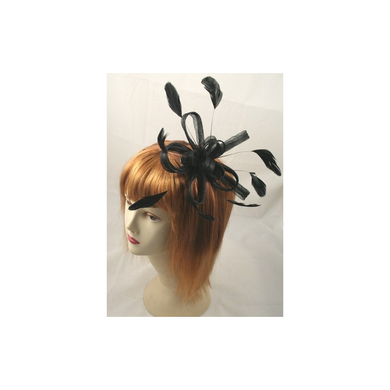 Fascinator Comb - Large Black coiled net and feather fascinator on a clear comb.