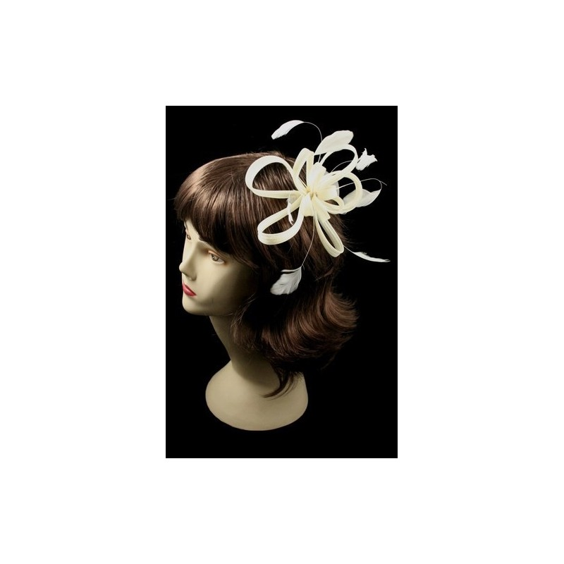 Fascinator Comb - Large cream coiled net and feather fascinator on a clear comb.