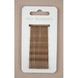 Kirby Hair Grips - 15 Brown 65mm Hair Grip wavy hairpin slides