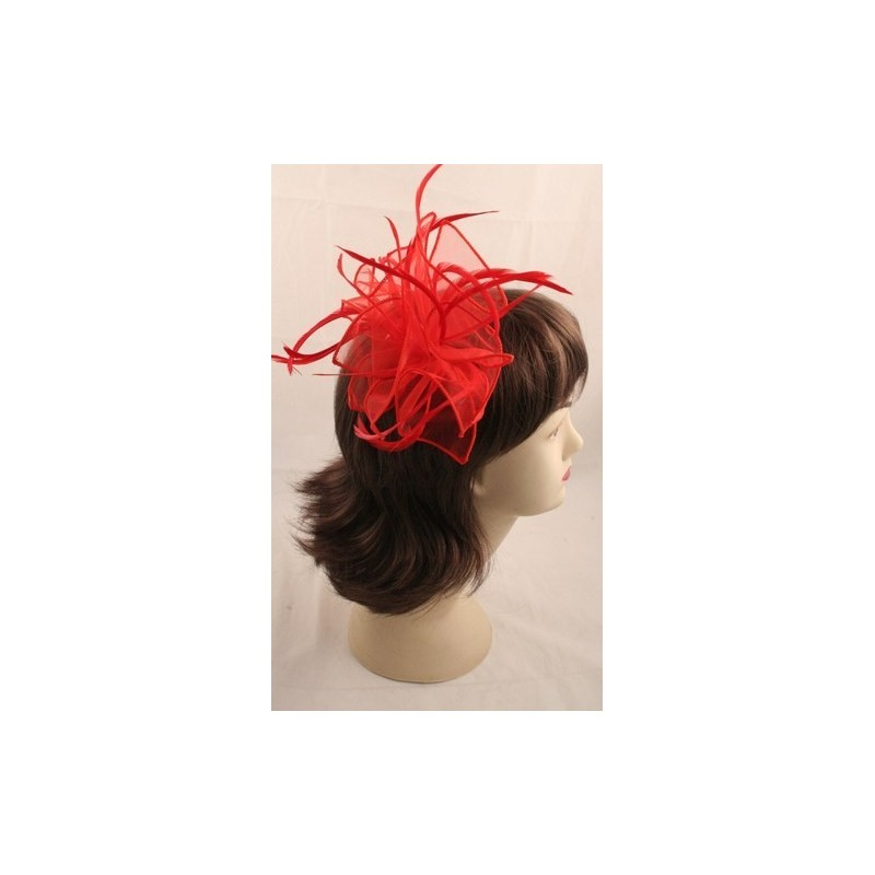 Fascinator comb - Red looped fabric and Feather Fascinator on a clear comb