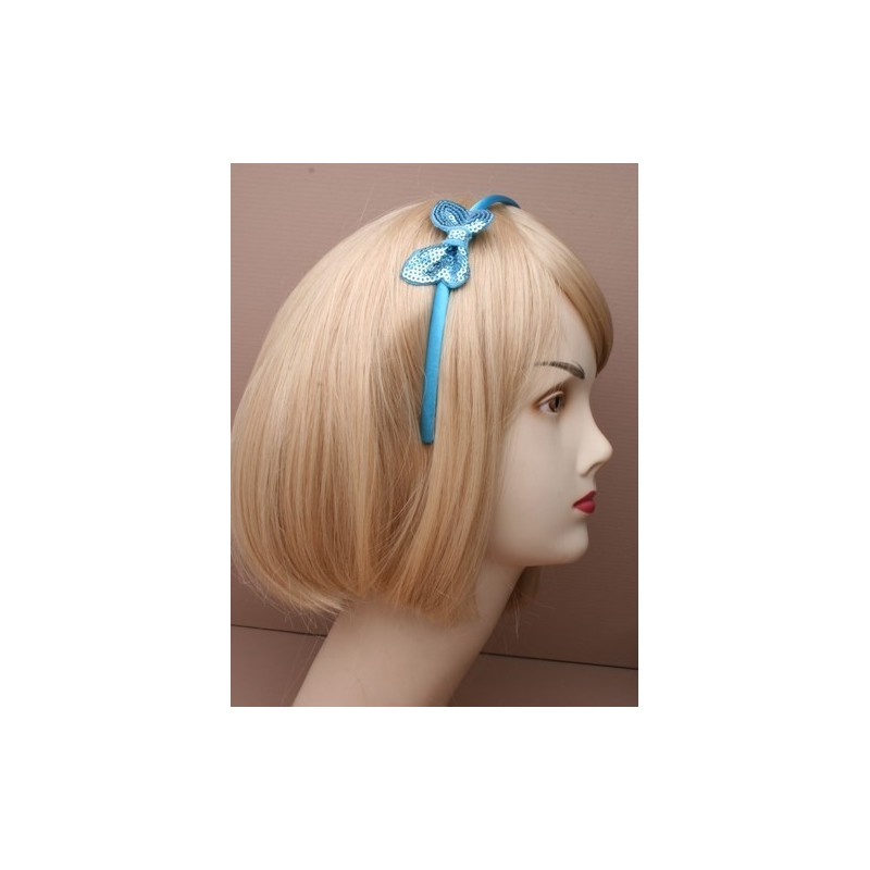 Aliceband - Sequin butterfly bow on a narrow satin headband alice band