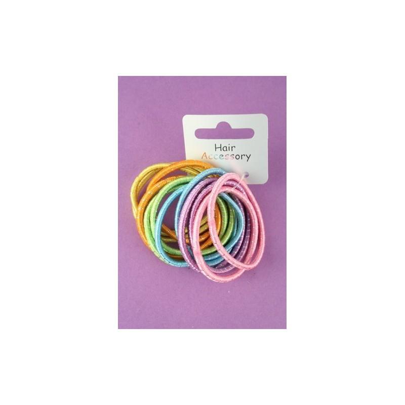 Brightly coloured hair elastics with silv thread x 6 pairs