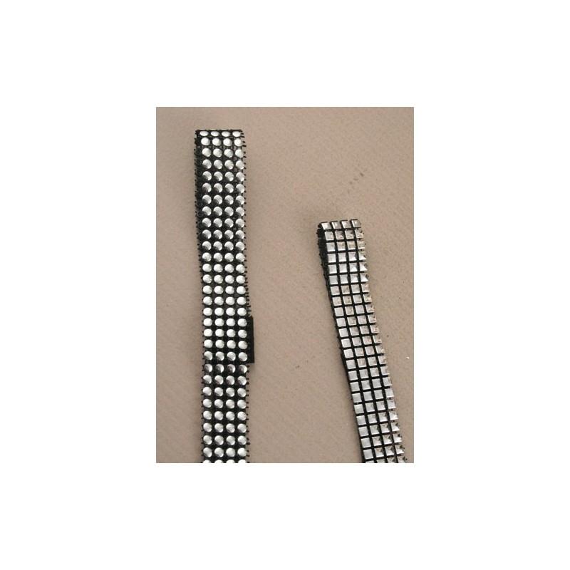 diadema - 4 filas de plata de plástico negro tacos en la banda elástica cabeza kylie