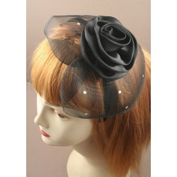 Fascinator Headband Hair Band - Black net cap with rose...
