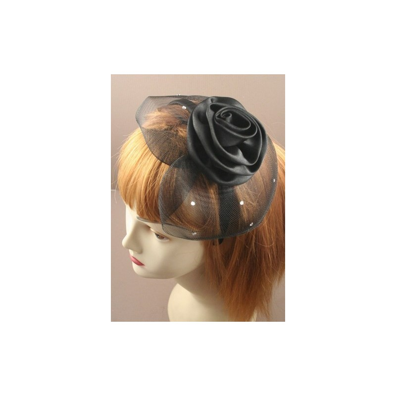 Aliceband - Black net cap with rose or bow on satin headband alice band