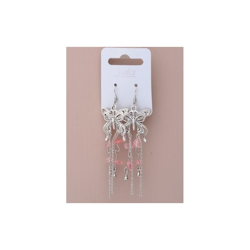 Pair of Rhodium plated butterfly dropper earrings with coloured chi...