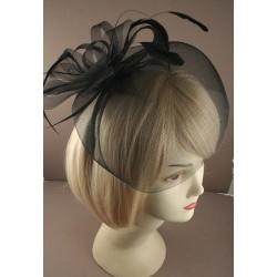Fascinator Aliceband - Black modesty net with rose,...