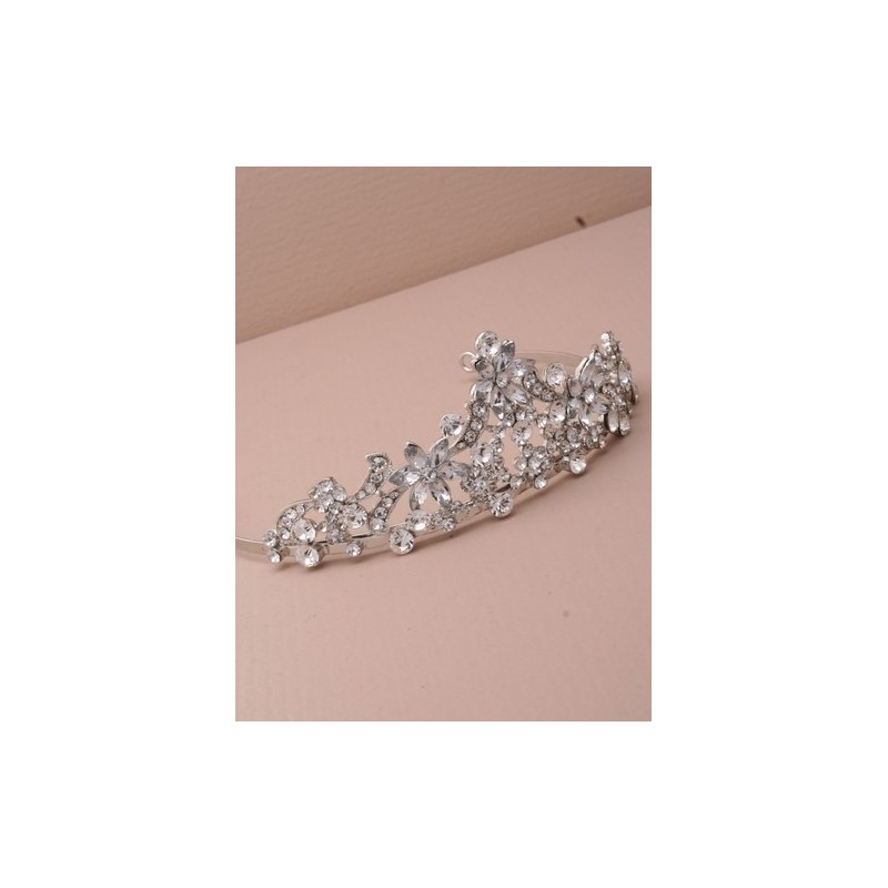 Rhodium vintage plated flower crystal tiara. 12cm. This item comes ...