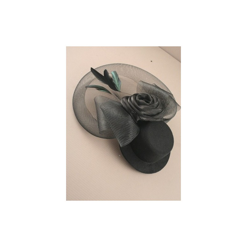Hatinator Fascinator Clip - Black hat fascinator with mesh net with fabric rose.