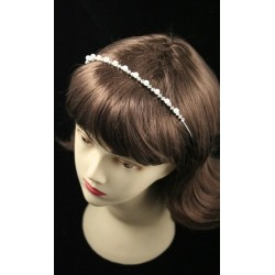 Silv White pearl and crystal alice style tiara in a cream box.