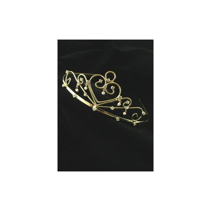 Metal Tiara. Gilt with Crystal and Pearl Decoration