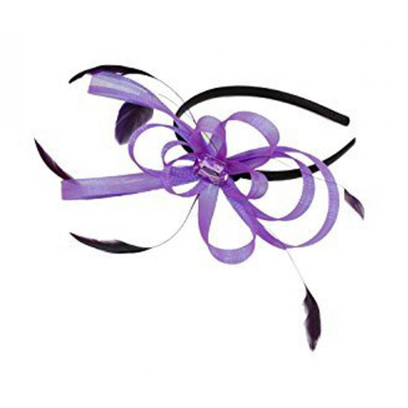 Fascinator Aliceband - Looped ribbon & feather fascinator headband alice band