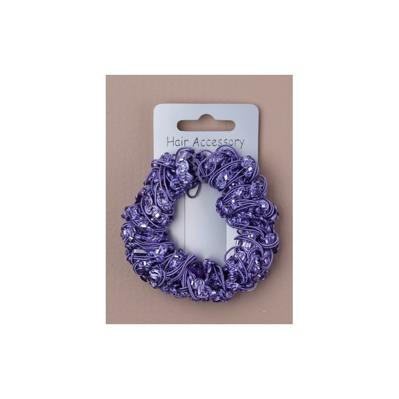 Pearlised coloured corded scrunchie. In pink/purple/turq and white.